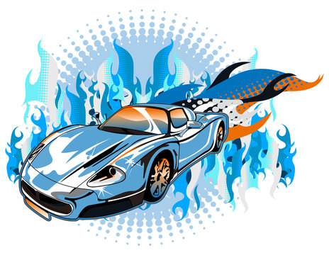 sports car with high speed