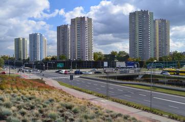 Panorama osiedla mieszkaniowego w Katowicach/Panorama of settlement in Katowice, Silesia, Poland