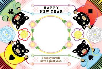2019年亥年完成年賀状テンプレート「華やかいのししカルテット写真フレーム1枠」HAPPY NEW YEAR