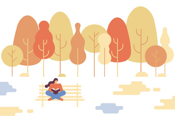 Girl sitting in autumn  park on bench and reading a book. Love reading. Flat  vector illustration.