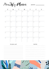 Monthly Planner. Organiser and Schedule with place for Notes and To Do List. Template design. Vector