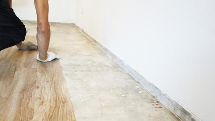 Home renovate with vinyl laminate flooring. Wall mural