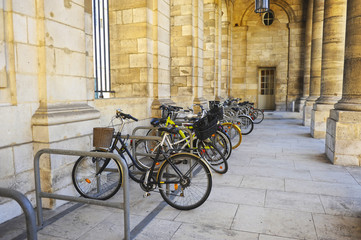 Bicycle parking in the City Hall of Bordeaux, Palais Rohan, France