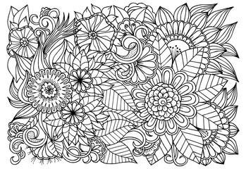 Outline vector drawing of flowers for adult coloring books. Page of floral pattern in black and white