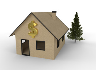 3D render of cardboard house with dollar symbol.