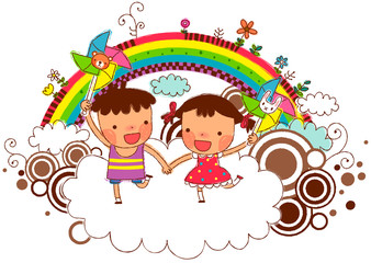 Wall Murals Rainbow Friends holding pinwheel with rainbow in background