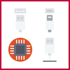 4 technical icon. Vector illustration technical set. microchip and usb cable icons for technical works