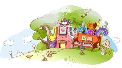 View of an abstract illustration with trees and musical instruments