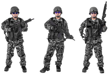 Set of military soldiers in black camouflage, isolated on white backgroud. Ready for action.