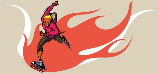 Man inline skating