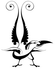 Original art bird isolated illustration. Decor bird of paradise black on white illustration