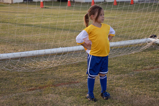 A player stands at the goal on the soccer field.
