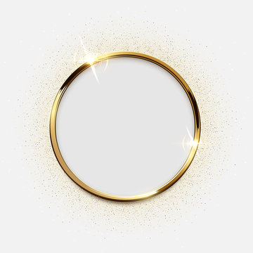 Golden sparkling ring with glitter isolated on white background. Vector luxury golden frame.