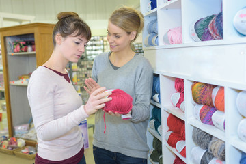 female seller and client looking at coils in store