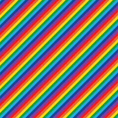 Vector seamless rainbow pattern. Geometric colorful diagonal striped background.