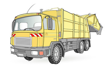 Fantasy illustration of vehicle for trash removal on white background. Model of garbage truck. Hand-drawn vector image.