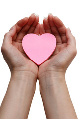 Pink heart. Health insurance or love concept