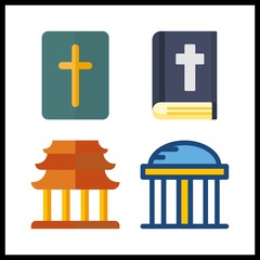 4 holy icon. Vector illustration holy set. temple and bible icons for holy works