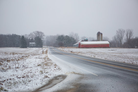 Snow Covered Country Road 02