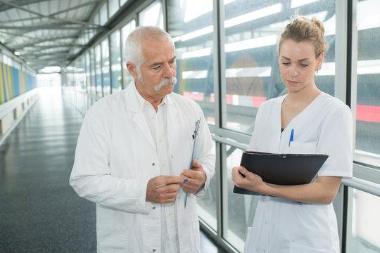 healthcare providers on the hallway