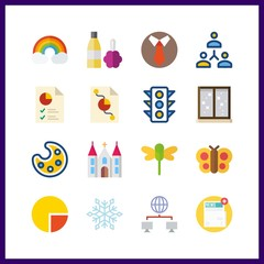 16 abstract icon. Vector illustration abstract set. butterfly and dragonfly icons for abstract works