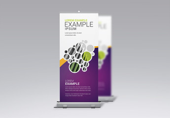 Rollup Banner Layout with Circular Photo Placeholders