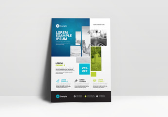 Business Flyer Layout with Blue Header