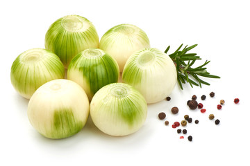 Fresh onion with spices, isolated on white background, Close-up.
