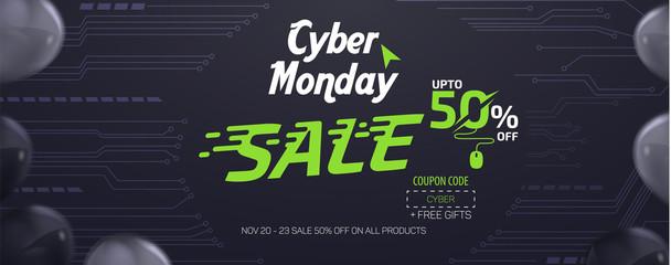 Cyber Monday Social Media Sale Banner Ad Vector Template Design