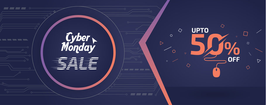 Abstract Cyber Monday Sale Banner Ad Vector Template Design