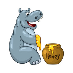 Happy cartoon hippopotamus who prepared to eat large portion of honey.  On white background