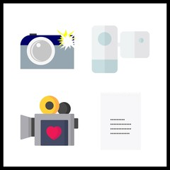 record icon. camcorder and video camera vector icons in record set. Use this illustration for record works.