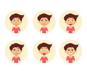 Set of emotion cute boy. Facial expression. Vector illustration of a flat design