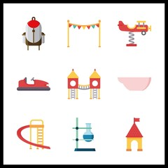 9 school icon. Vector illustration school set. ballon and playground icons for school works