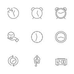 set of icons for different clocks