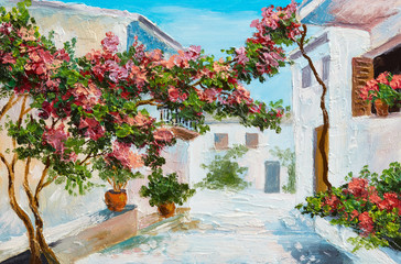 oil painting - house near the sea, colorful flowers and trees, summer seascape