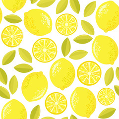 Seamless vector pattern with lemons.