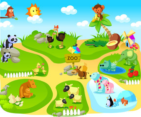 Group of animals in a zoo