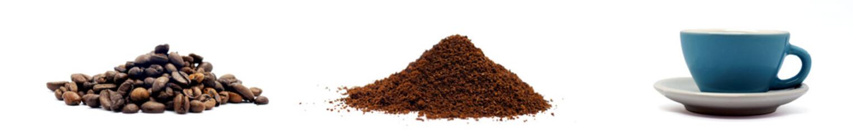 kaffee bohnen pulver und tasse