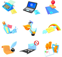 Objects related to communication media on a white background