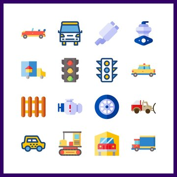 car icon. transportation and exhaust pipe vector icons in car set. Use this illustration for car works.