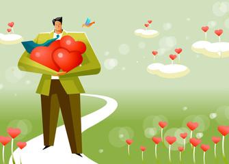 Businessman carrying heart shape flowers