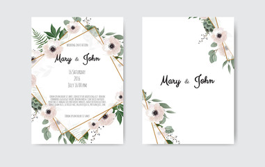 Botanical wedding invitation card template design, white and pink flowers on white and black background.