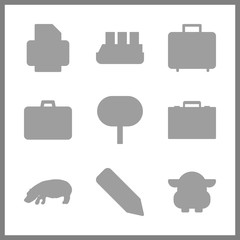large vector icons set. hippopotamus, hippo, cruise ship and printer in this set.