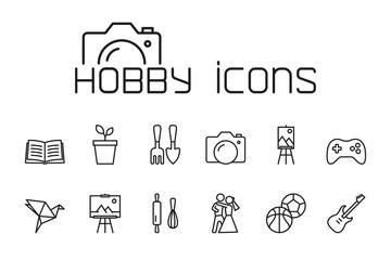 line hobby icons set on white background