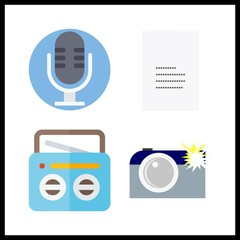 4 record icon. Vector illustration record set. receipt and camera icons for record works