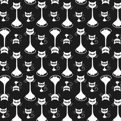 Cartoon cat and kitty monochrome flat pattern background