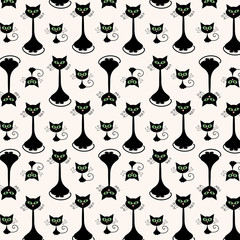 Cartoon cat and kitty monochrome flat pattern background