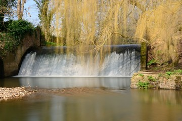 Long exposure of a waterfall on the river Sid in Sidmouth