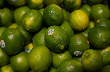 Fresh lime in a fruit and vegetable stand